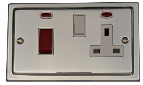 G&H TC29W Trimline Plate Polished Chrome 45 Amp DP Cooker Switch & 13A Switched Socket